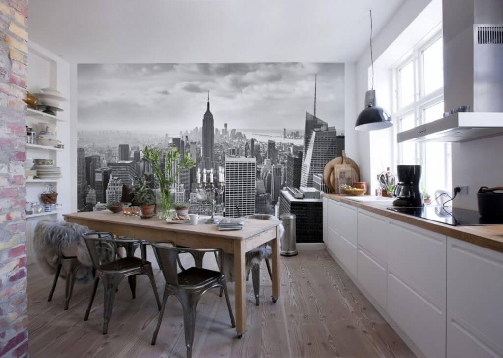 фотообои на кухне город