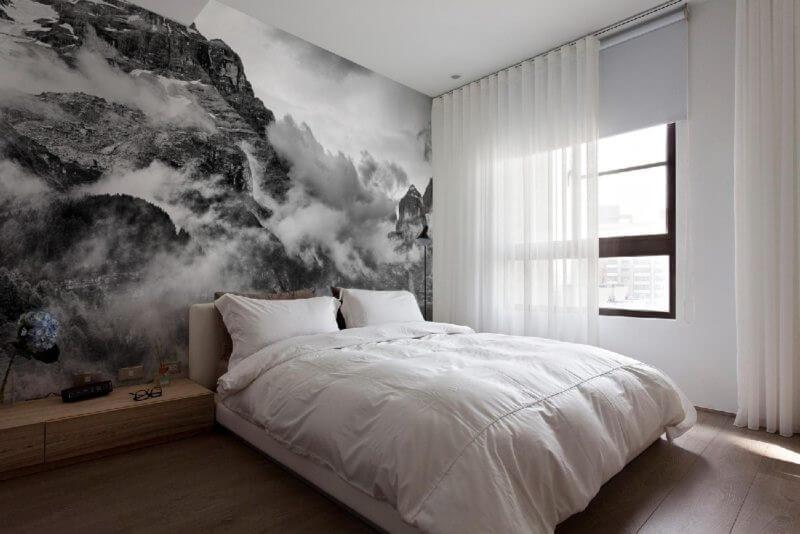 фотообои в спальне горы