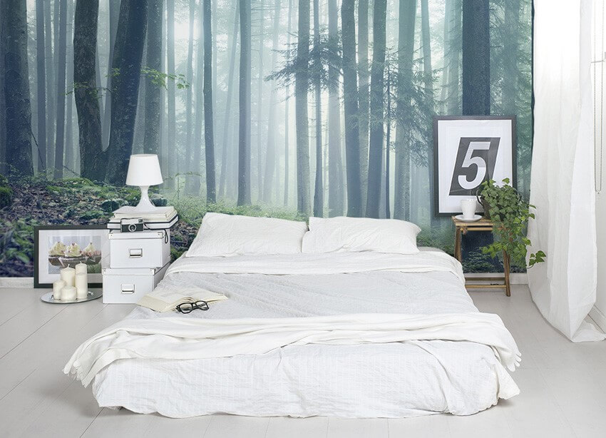 фотообои спальня лес