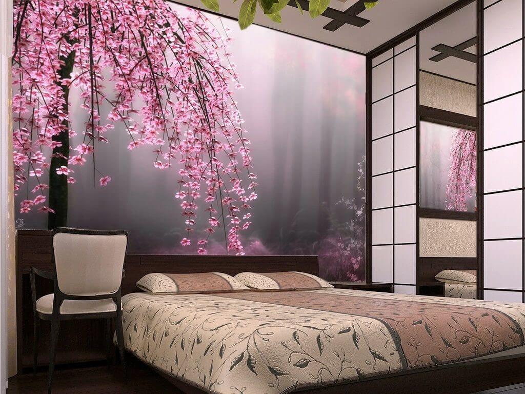 фотообои в спальне сакура