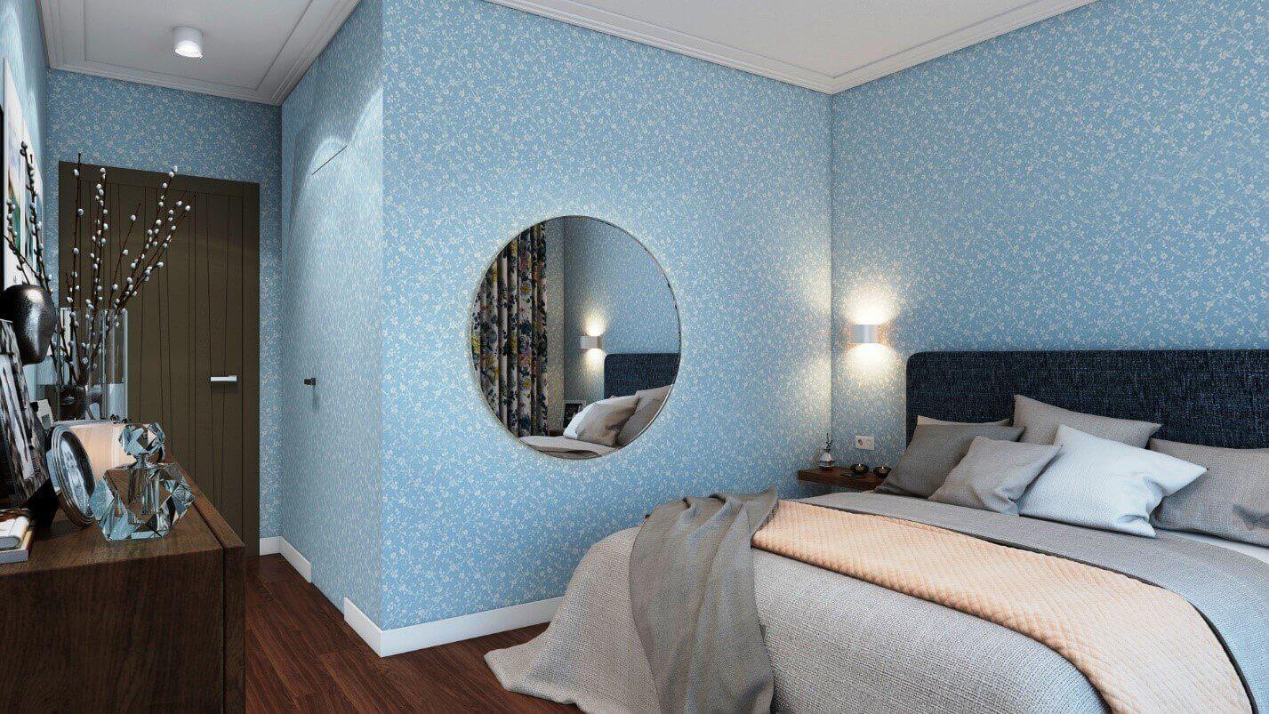 блакитні шпалери в спальні
