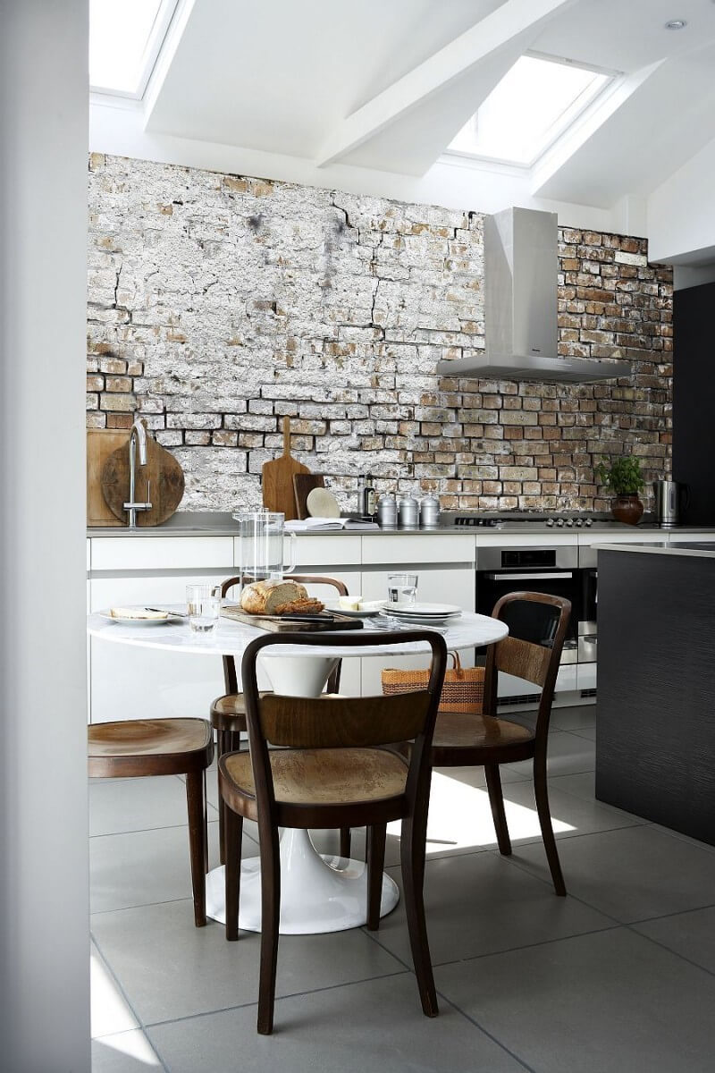 шпалери на кухні під цеглу