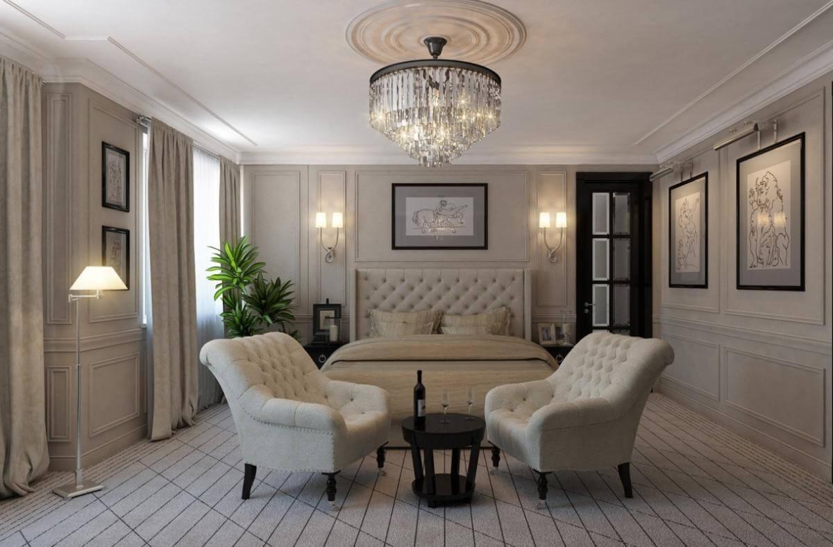 шпалери в спальню в стилі класик