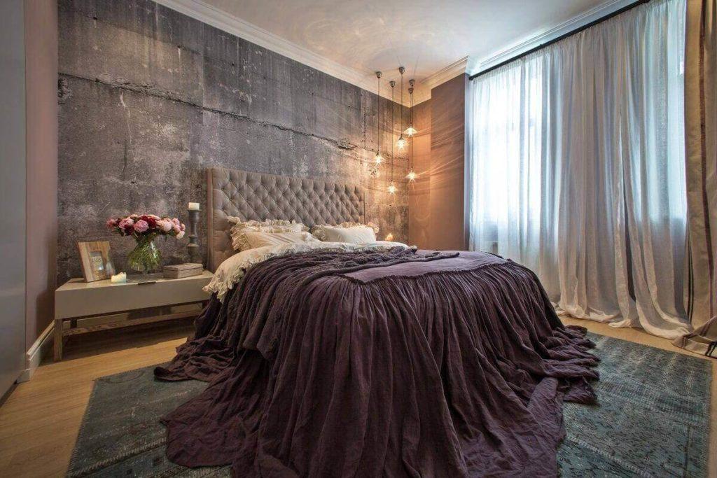 шпалери в спальню в стилі лофт