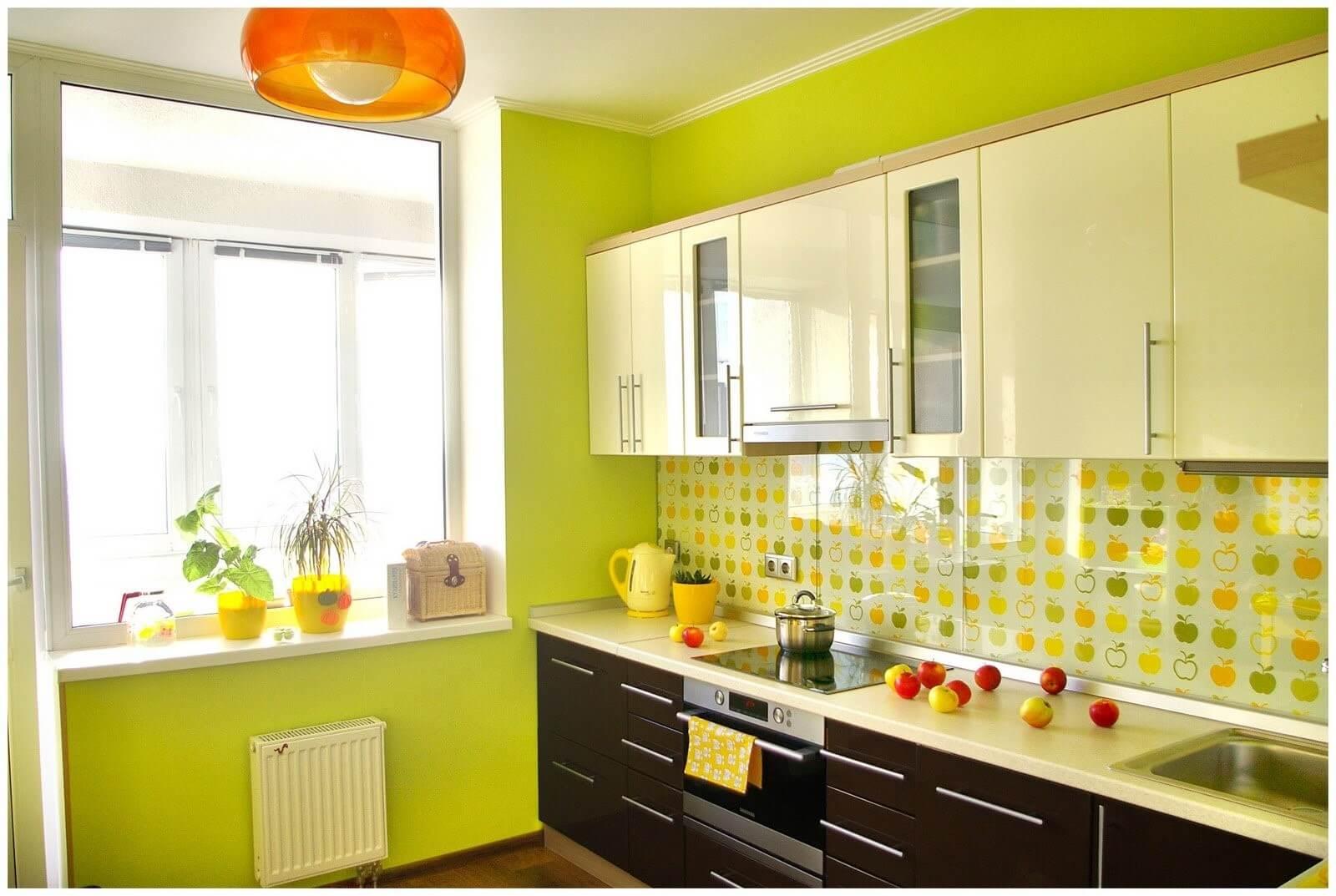 салатові шпалери на кухні