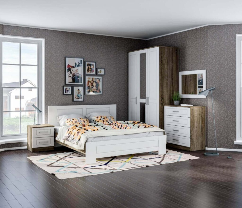 фото серые обои спальня