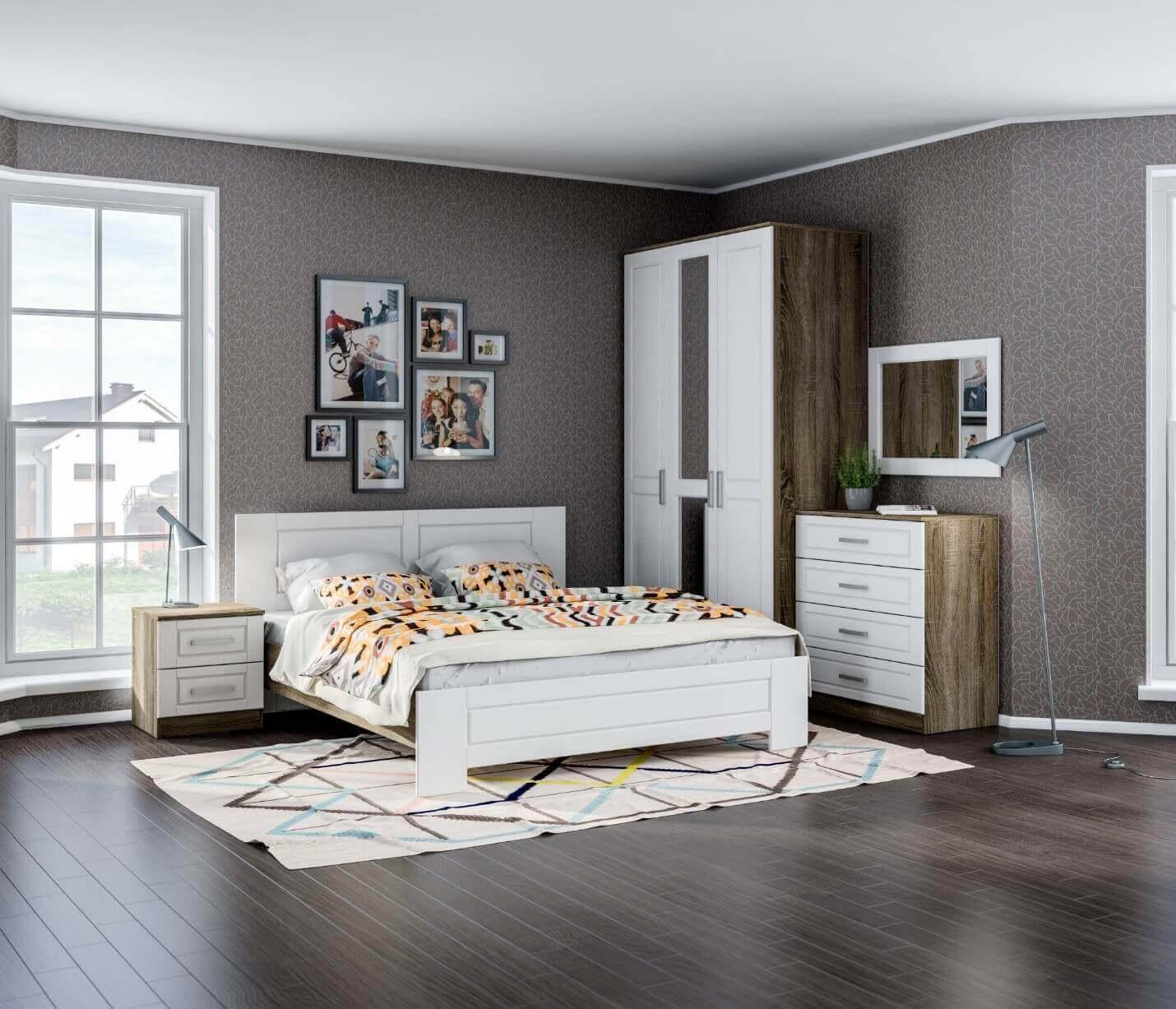 фото сірі шпалери спальня