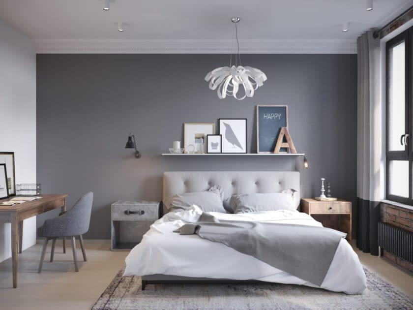 серые обои спальня