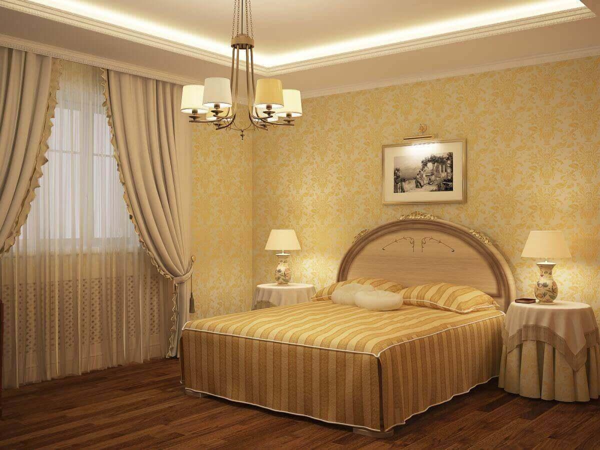 золоті шпалери в спальні