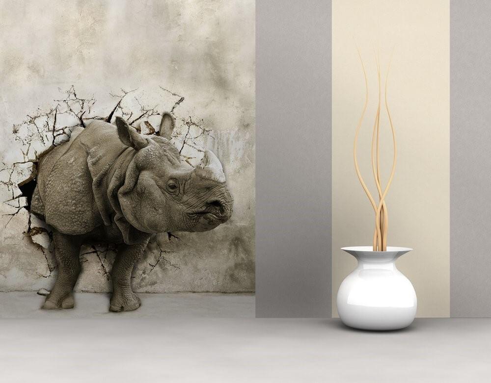 3д шпалери носоріг