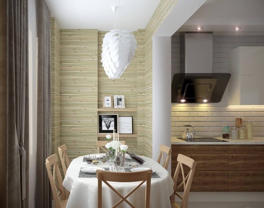 бамбук обои в кухне