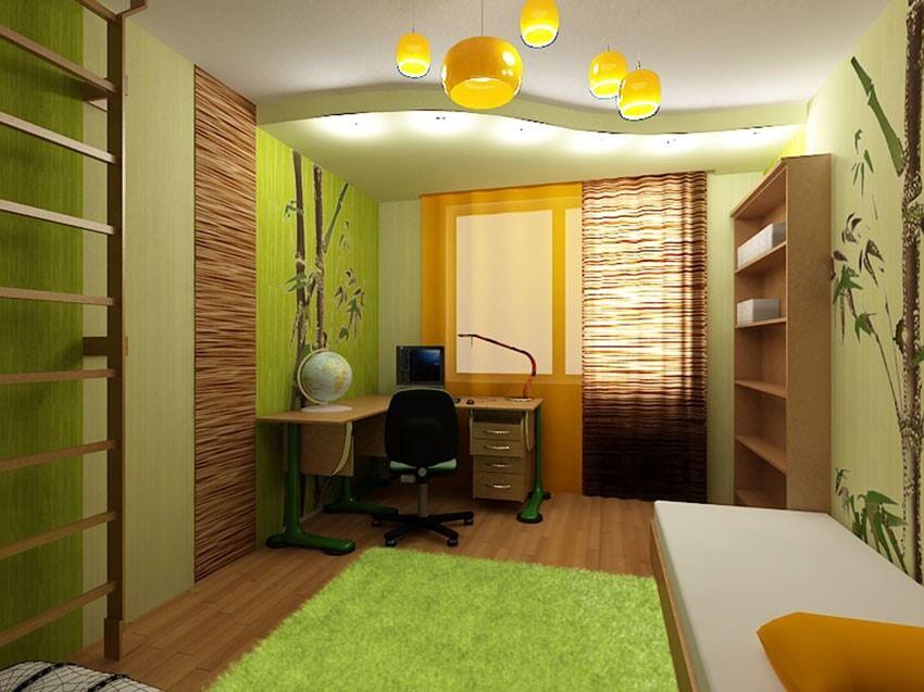 бамбуковые обои в детской комнате