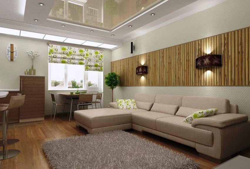 бамбук обои в гостиной