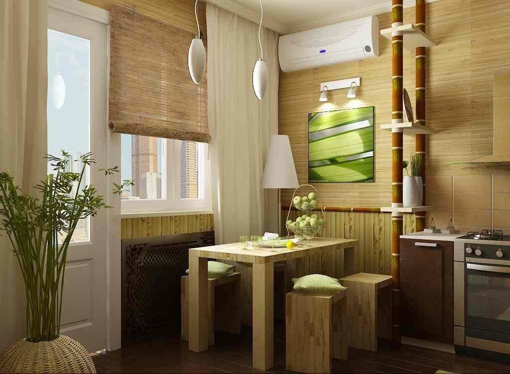 бамбукові шпалери в інтер'єрі кухні