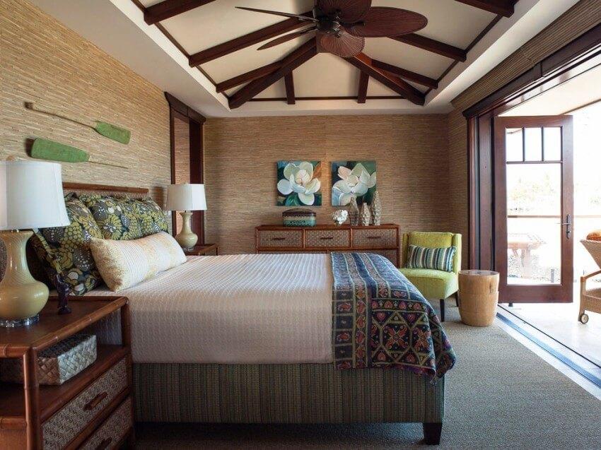 бамбук шпалери в спальні