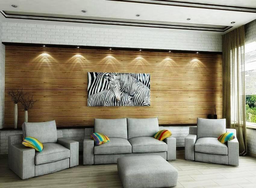 бамбуковые обои гостиная