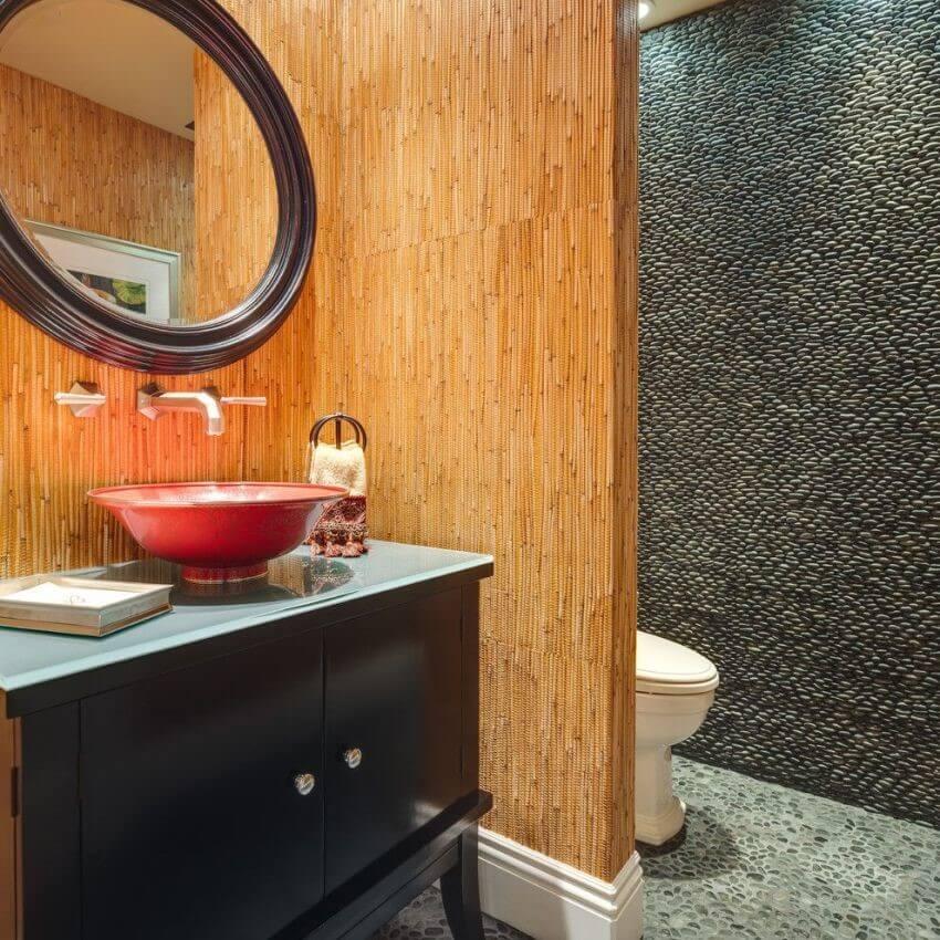 бамбукові шпалери в ванній