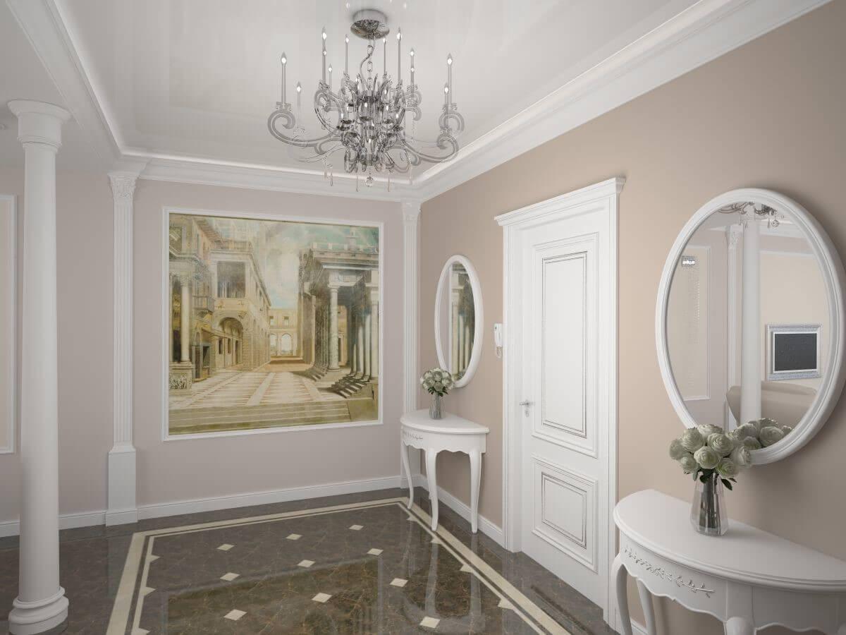 шпалери в коридорі в стилі класик
