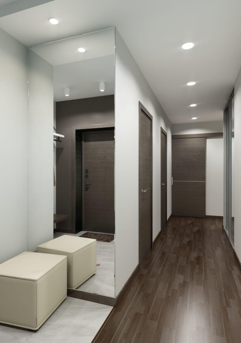 світлі шпалери в коридорі в стилі хай-тек