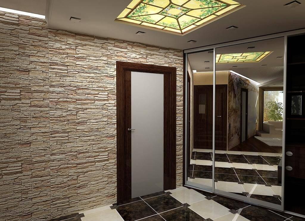 шпалери під цеглу в коридорі
