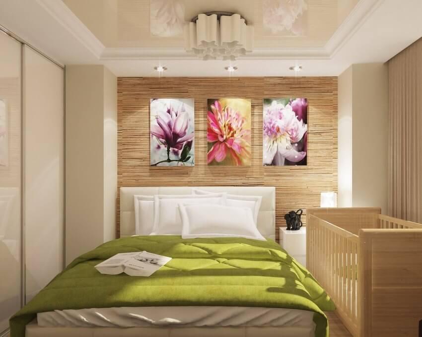 обои из бамбука в спальне