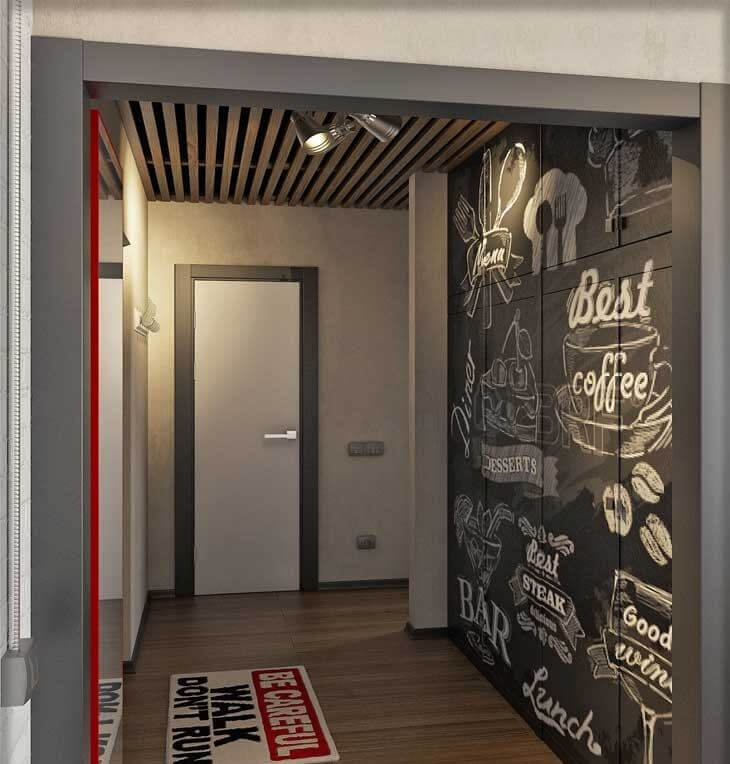 шпалери в коридорі в стилі лофт