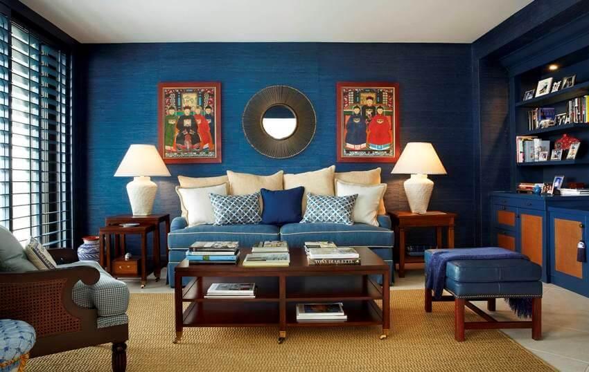 синие обои из бамбука в интерьере