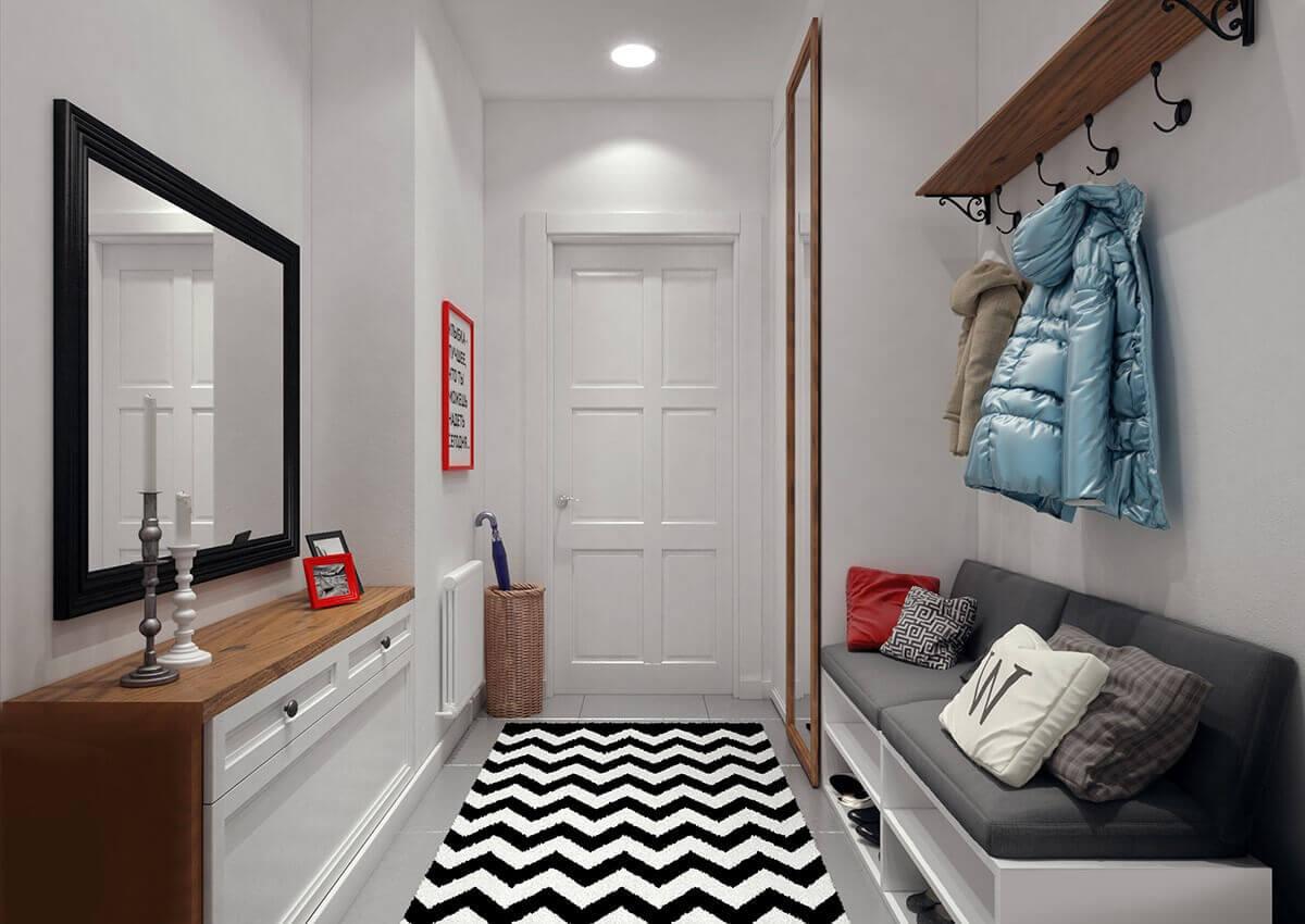 светлые обои в коридоре скандинавский стиль