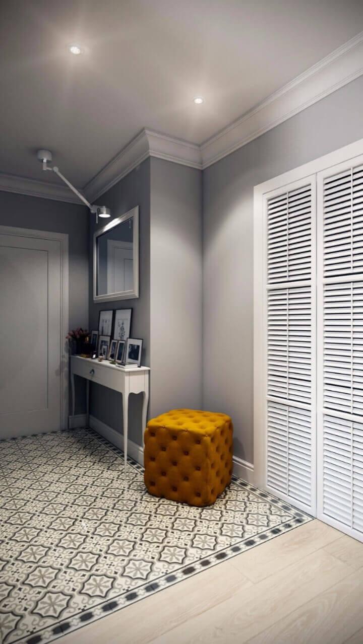 серые обои в скандинавском стиле коридор