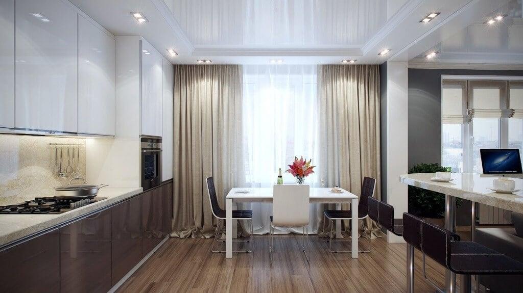 Атласні штори в інтер'єрі кухні