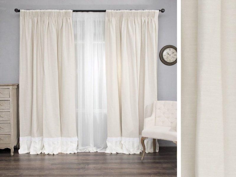 Белые модные шторы