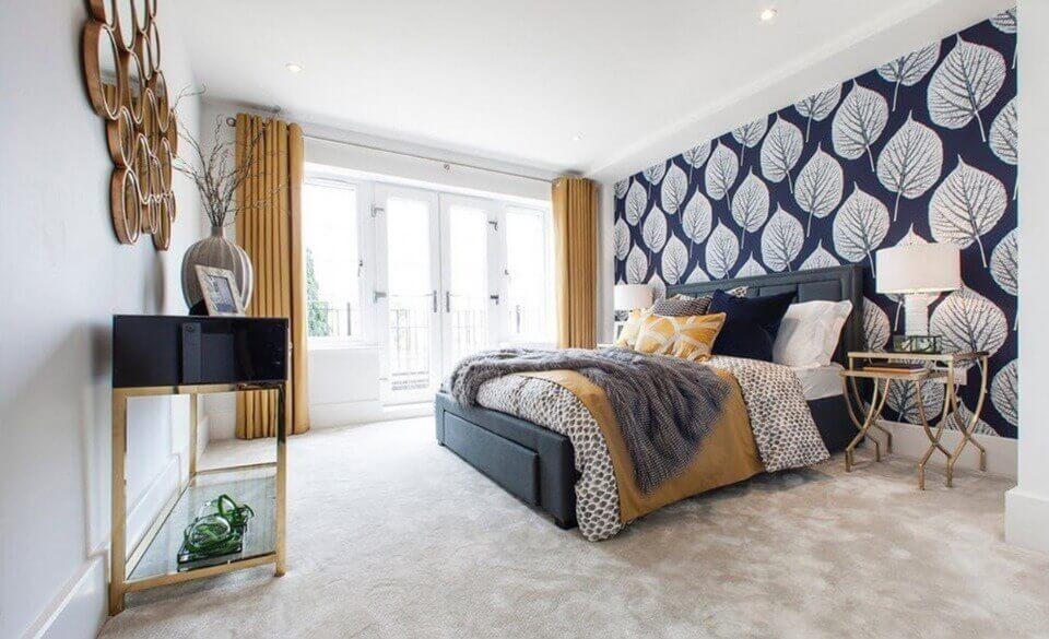 білий підлога в спальні
