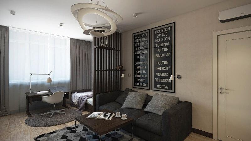 дизайн гостиной-рабочий кабинет