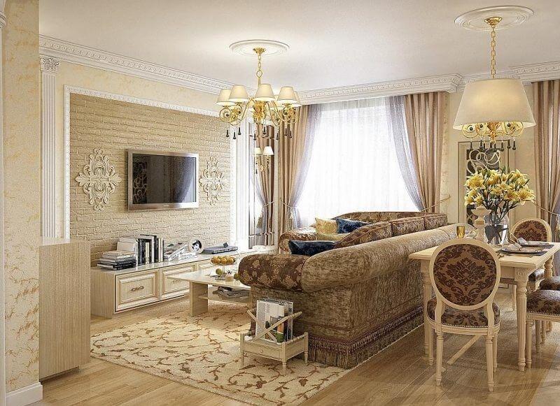 дизайн гостиной классик