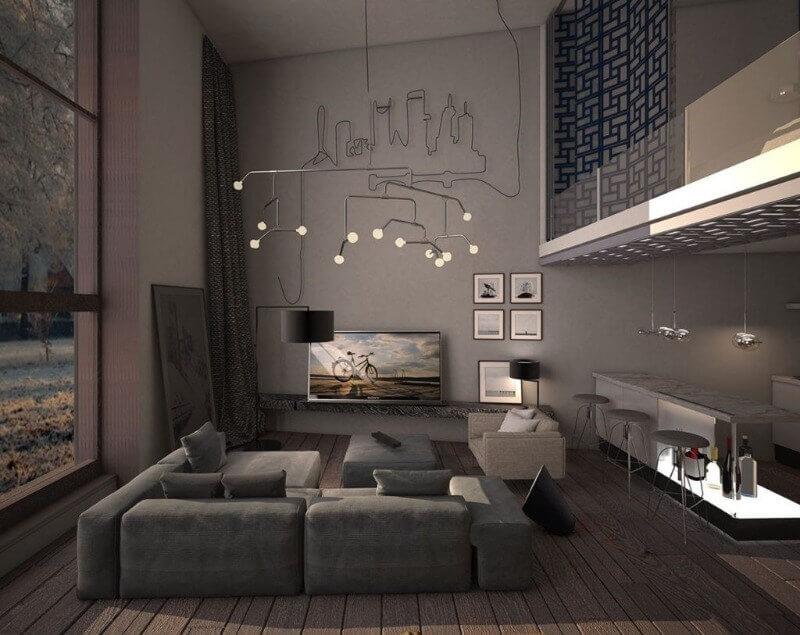 дизайн гостиной темного цвета