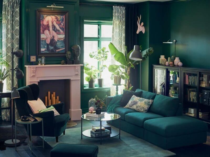 дизайн вітальні зеленого кольору