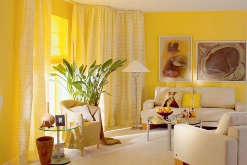 гостиная желтого цвета дизайн