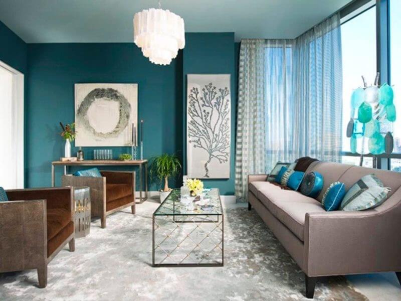 дизайн гостиной синего цвета