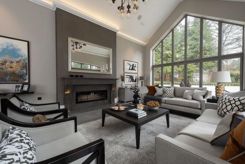 дизайн сірої вітальні