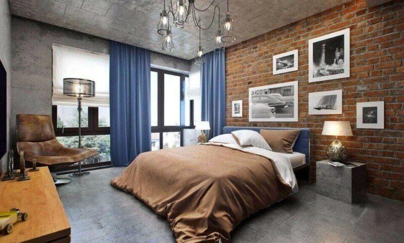 дизайн спальні в стилі лофт