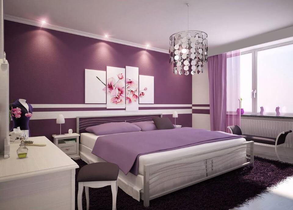 дизайн спальні в фіолетовому кольорі