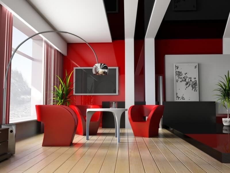 стильная гостиная красного цвета