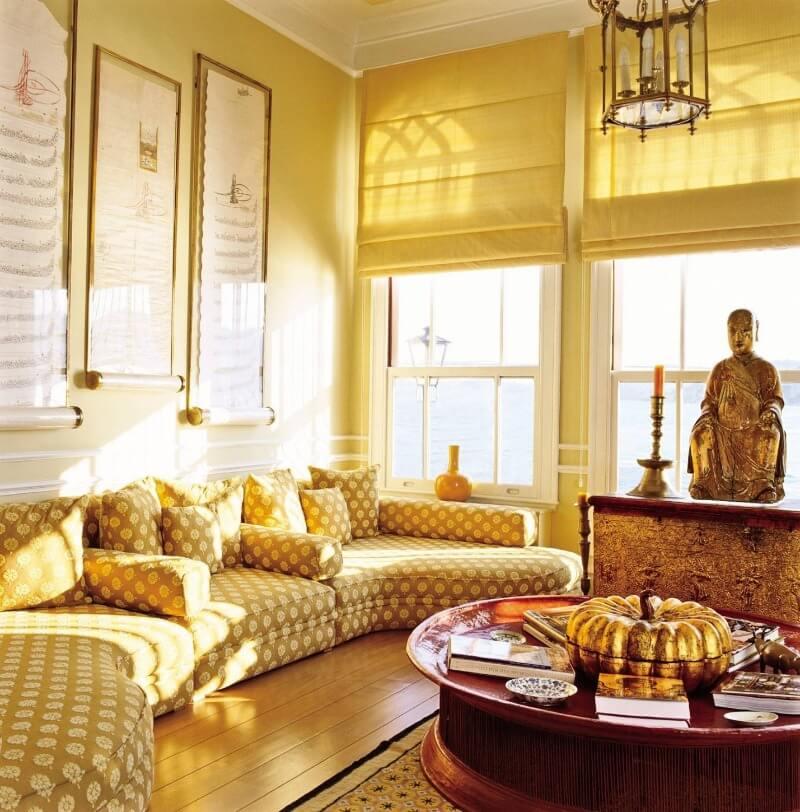 желтая гостиная оформление