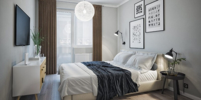 кровать в скандинавской спальни