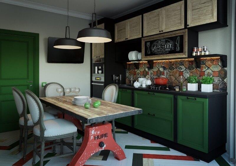 зелена кухня в стилі лофт