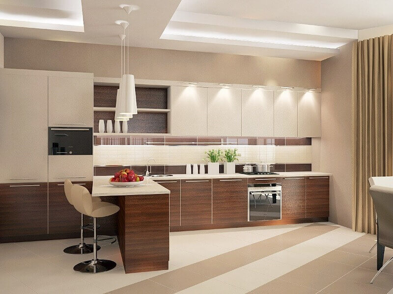 красивая кухня в пастельных тонах