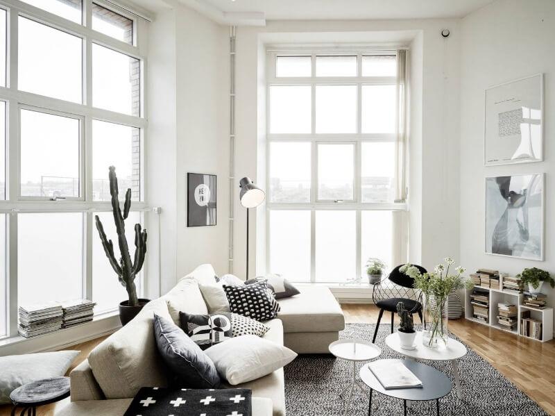 меблі у вітальні в скандинавському стилі