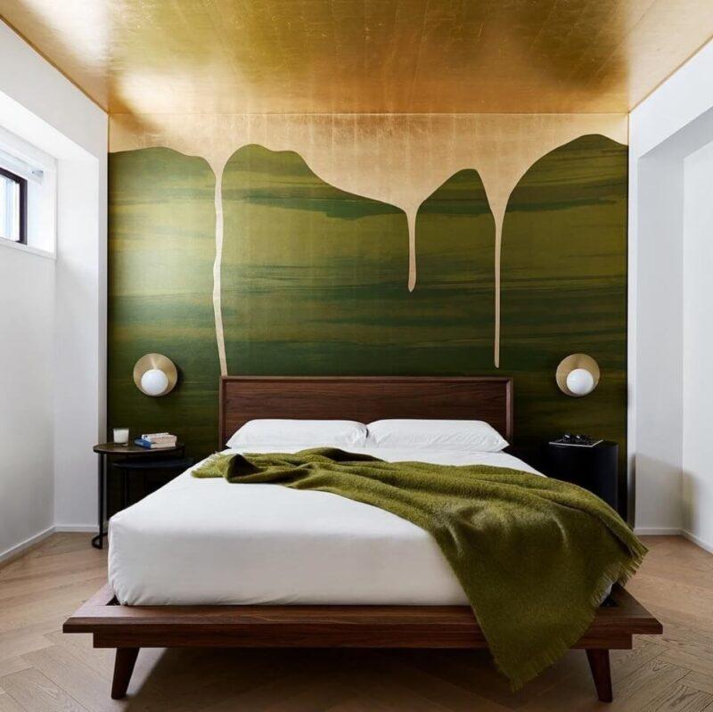 оригінальна обробка стіни в спальні