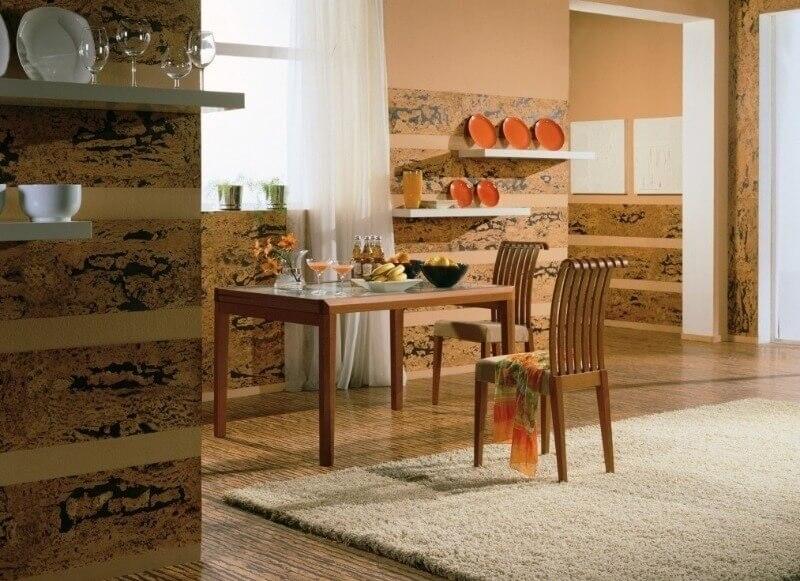 коркове покриття стін на кухні