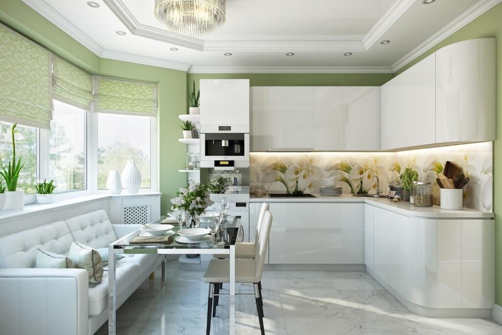 светлые шторы на кухне